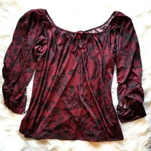 **NWOT**Betsey Johnson Floral/Lace Print Blouse